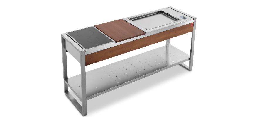 Tavolo PLANET OASI 183 con BBQ ELETTRICO EL60 e Piano Induzione